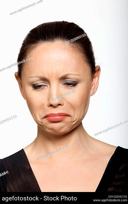 beautiful sad asian woman