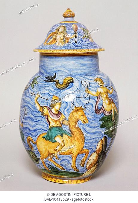 Jar with lid with polychrome decoration on an ocean blue background, ceramic, Nevers manufacture, Burgundy. France, 17th century