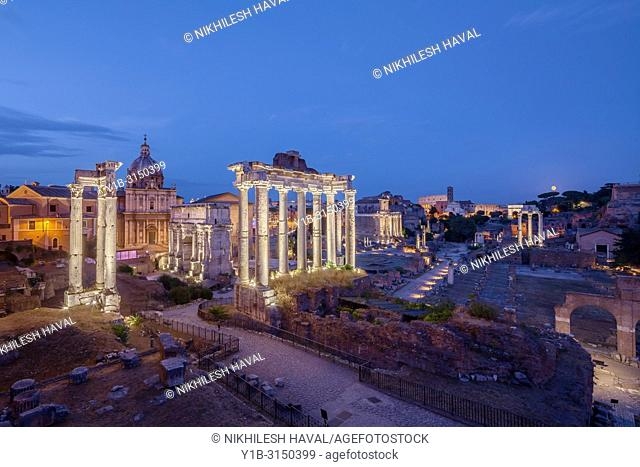 Dusk view of Roman Forum looking East, Rome, Italy