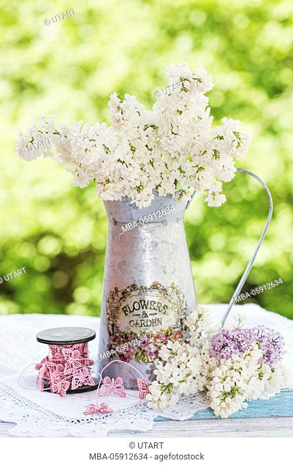 Metal jug with white lilac, white top caps on old wooden board, role with butterfly's cord, single blossoms to the decoration