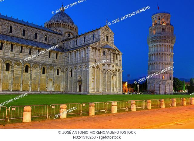 Pisa, Cathedral, Duomo, Leaning Tower at Dusk ,Piazza del Duomo, Cathedral Square, Campo dei Miracoli, UNESCO world heritage site, Tuscany, Italy