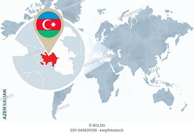 Abstract blue world map with magnified Azerbaijan. Azerbaijan flag and map. Vector Illustration