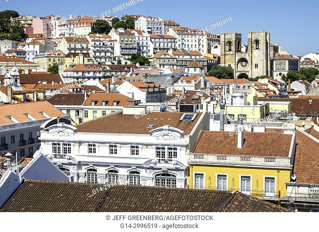 Portugal, Lisbon, Baixa, Chiado, historic center, overhead, aerial, view, panoramic, city skyline, rooftops, red barrel tile, buildings, cathedral