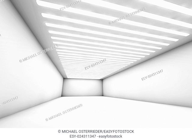 3D illustration of a empty and reflective warehouse with illumination
