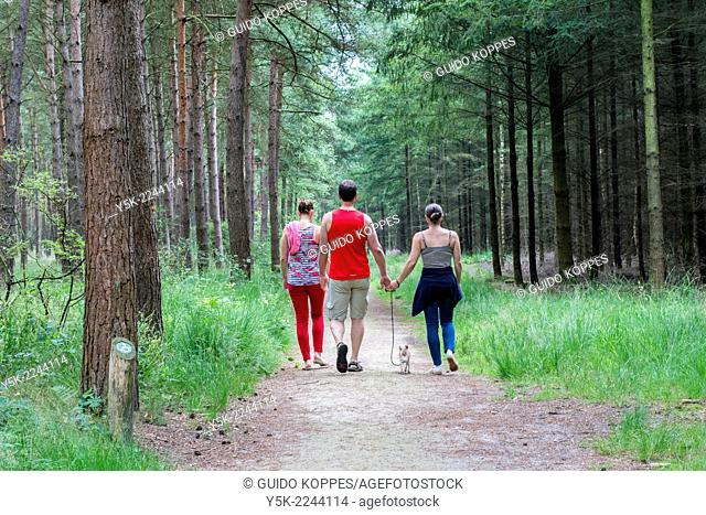Estate De Utrecht, Reusel, Netherlands. Three people, and their little dog hiking though the forest and estate of The Utrecht on their day off