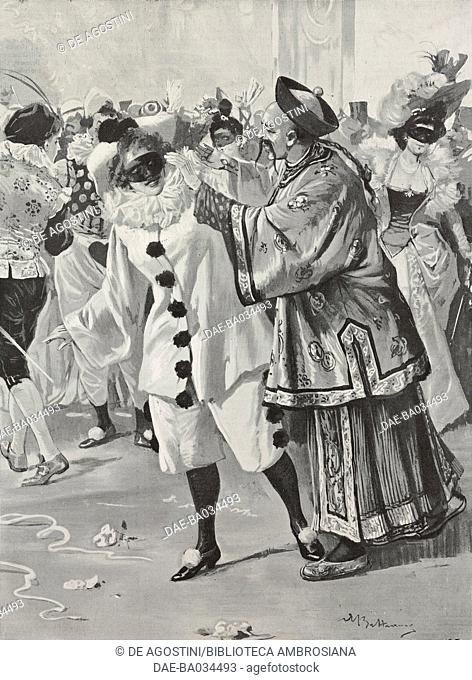 Masquerade party, New Year's Eve, drawing by Achille Beltrame (1871-1945), from L'Illustrazione Italiana, Year XXV, No 6, February 6, 1898