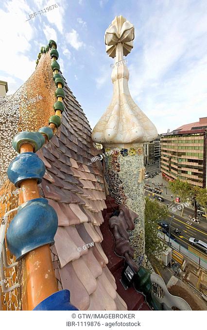 Casa Batlló, Unesco World Heritage Site, decoration on the terrace, Antonio Gaudi architect, Eixample District, Barcelona, Catalonia, Spain