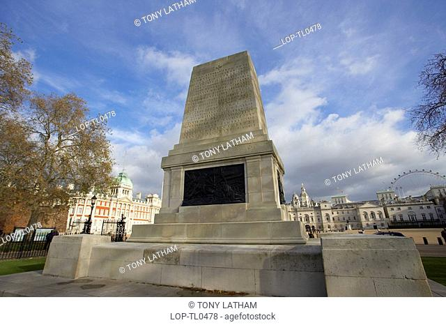 England, London, Westminster, The War Memorial at St James Park with Horse Guards Parade in the background