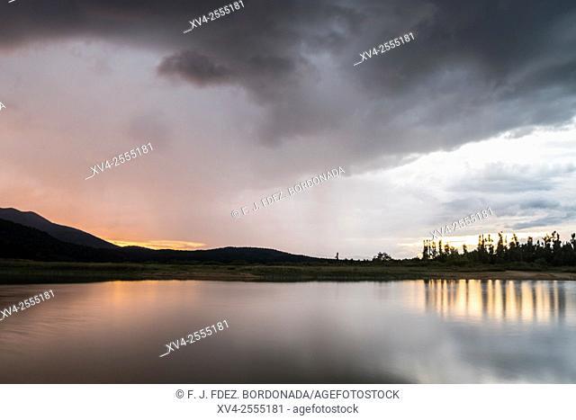 Cerknica lake sunset spring. Slovenia