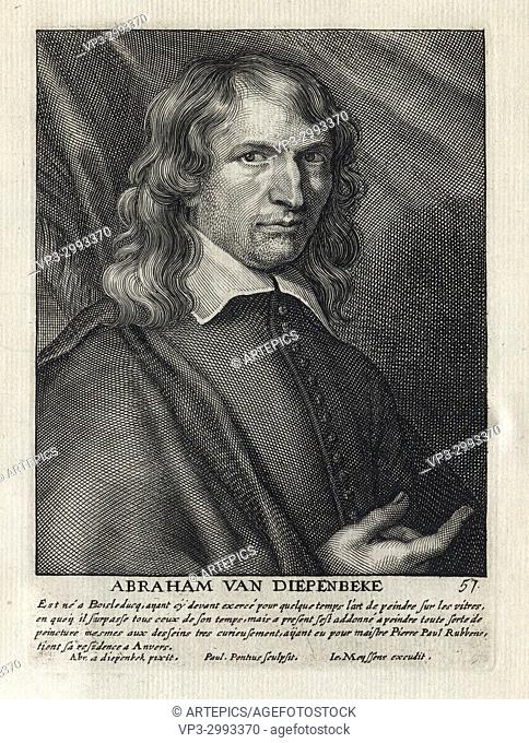 ABRAHAM VAN DIEPENBEKE - Woodcut portrait and short biography (old french language) - Engraving 17th century