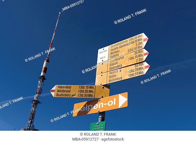 Europe, Switzerland, signpost on the Niederhorn