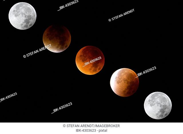Phases of the lunar eclipse with Blood Moon and Super moon, lunar eclipse on 28.09.2015, Konstanz, Baden-Württemberg, Germany