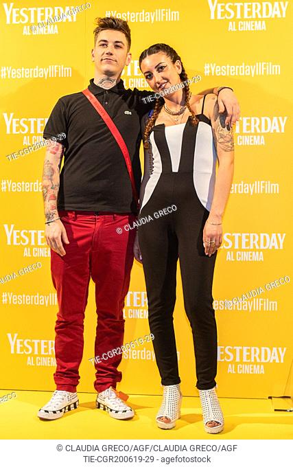 Dani Faiv with girlfiend during the photocall of film ' Yesterday ' in Milan, ITALY-20-06-2019
