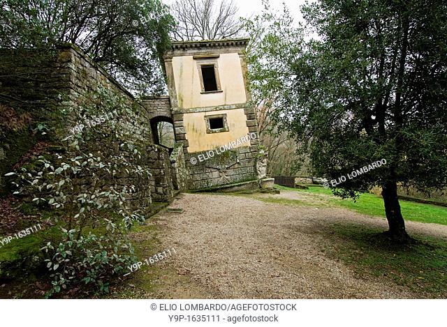 The Leaning House, Parco dei Mostri monumental complex, Bomarzo, Viterbo, Lazio Italy