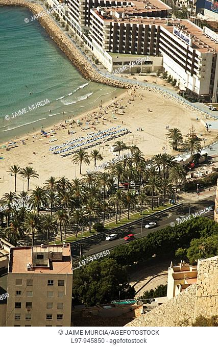 View of the beach at Alicante from castle