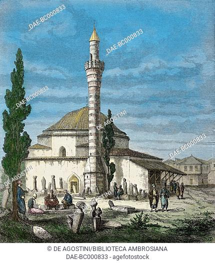 Giaour Meidan mosque, Trabzon, Turkey, drawing from Travels in Lazistan and in Armenia, 1869, text and drawings by Theophile-Louis Deyrolle (1844-1923)