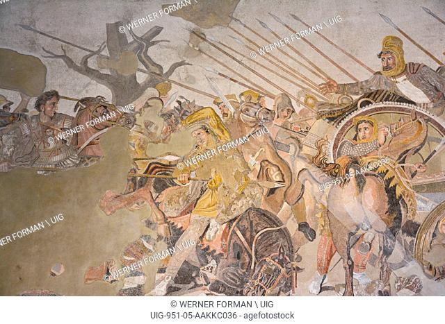 Mosaic from the House of the Faun, depicting the Battle of Issus (333 BC). Alexander the Great can be seen at the left of the scene on his horse Bucephalos...