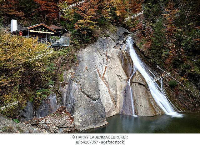 Waterfall at the lower entrance to Starzlachklamm, autumn mood, Winkel near Sonthofen, Oberallgäu, Oberallgäu district, Bavaria, Germany