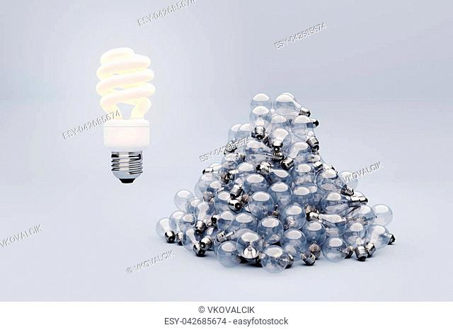 Darker wide 3D render, different lightbulbs kinds, concept of idea or environment