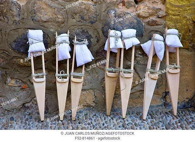 Stilts for the 'Danza de los Zancos' folk dance, Anguiano. La Rioja, Spain
