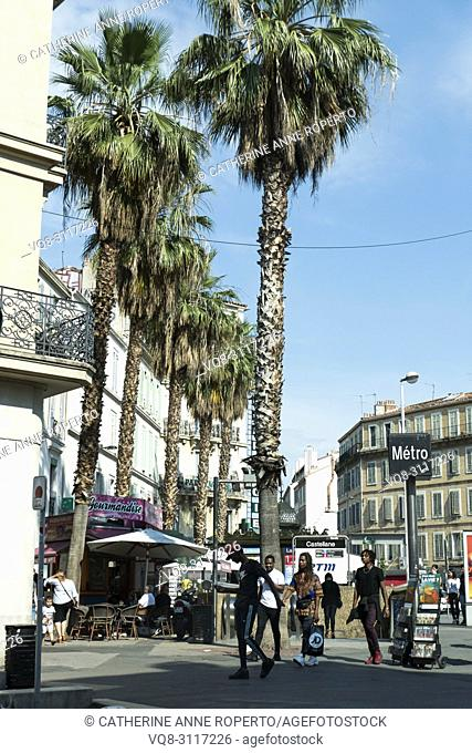 Blue sky and palm trees by the Castellane Metro Station in Marseille, Provence, France