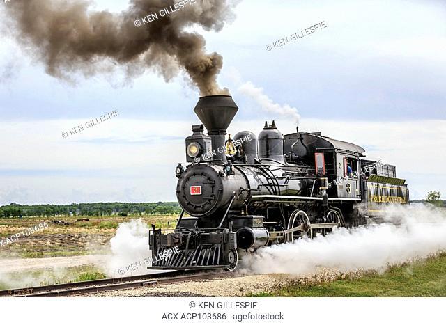 Vintage steam locomotive No.3 of the Prairie Dog Central Railway, Winnipeg, Manitoba, Canada