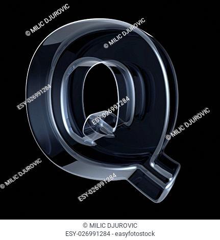 Transparent x-ray letter Q. 3D render illustration on black background