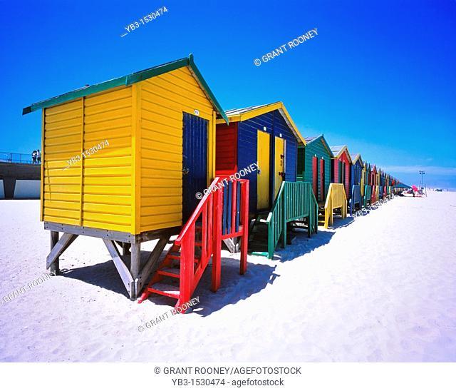 Muizenberg Beach and Beach Huts, Cape Peninsula, South Africa