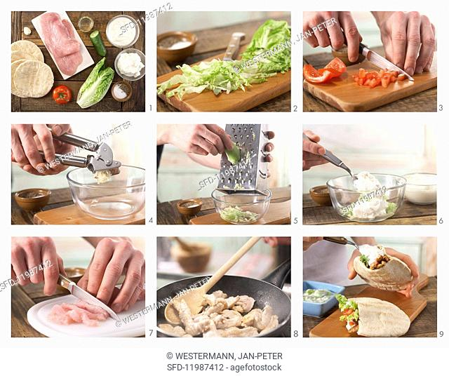 How to prepare pitta bread with turkey, vegetables and tzatziki