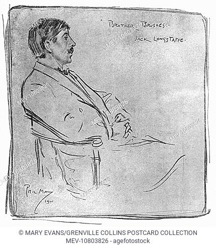 'Brother Brushes' - Portrait drawing by Phil May of Sir John Longstaff (1862-1941) - Australian Artist, painter, war artist and a five-time winner of the...