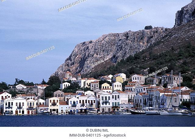 View of Harbour quay Kastellorizo, Dodecanese, Greece