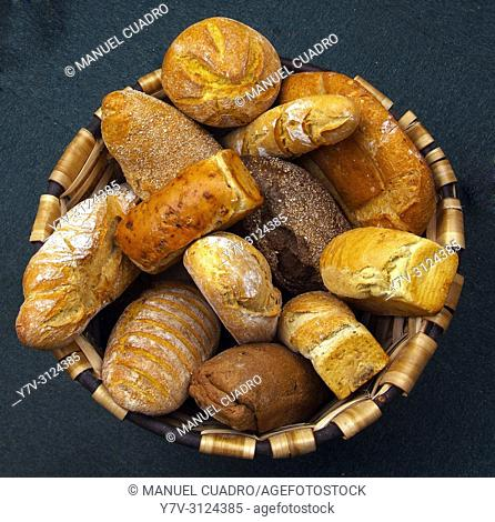 Basket with different breads. Basque Country, Spain