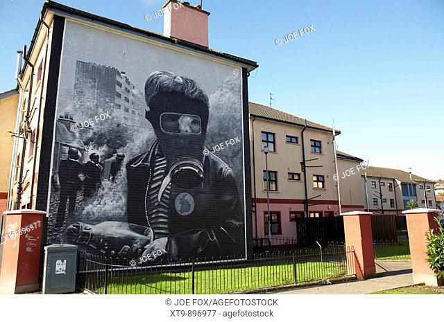 The petrol bomber at the Battle of the Bogside, part of the peoples gallery murals in Rossville Street of the bogside area of Derry Londonderry Northern Ireland