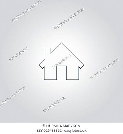 Home. Flat web icon, sign or button isolated on grey background. Collection modern trend concept design style vector illustration symbol