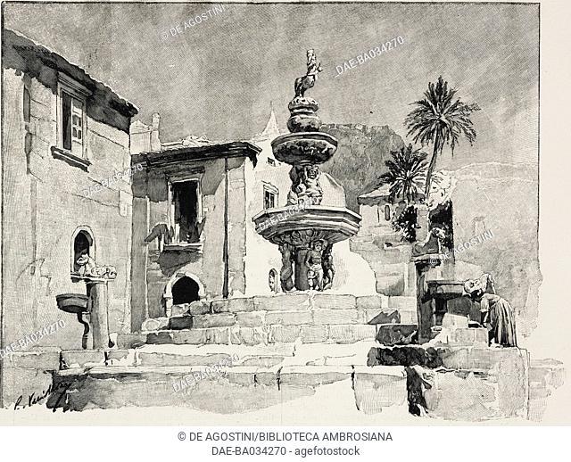 Fountain in Piazza del Duomo in Taormina, Sicily, Italy, from L'Illustrazione Italiana, Year XXIII, No 18, May 3, 1896
