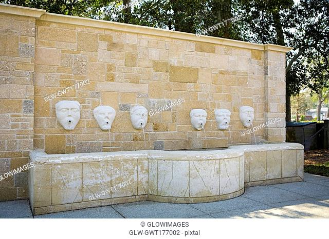 Drinking fountains on a wall, Fuente De Los Canos, St  Augustine, Florida, USA