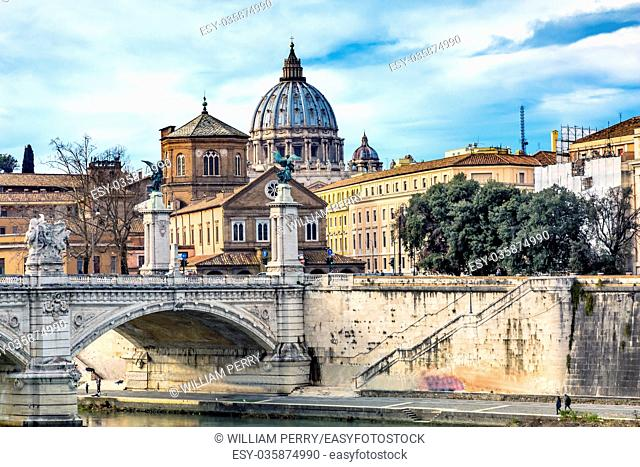 Vatican Dome Tiber River Ponte Bridge Vittorio Emanuele III Rome Italy. Bridge built in 1886 near Vatican