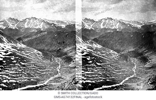 Stereograph of Clear Creek as seen from near Grays Peak, Clear Creek County, Colorado, 1873. Image courtesy USGS