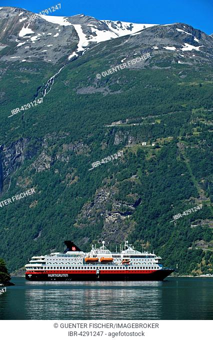 Cruise ship MS Nordkapp, shipping company Hurtigruten AS, Geirangerfjord, Geiranger, Norway