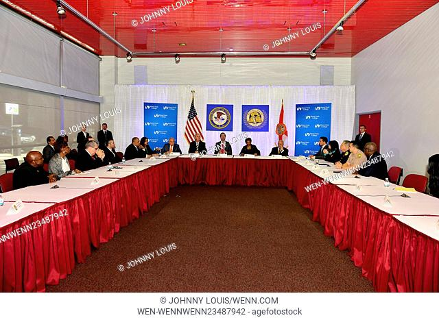 U.S. Attorney General Loretta Lynch hosts a community policing roundtable at Miami-Dade College Wolfson Campus, as part of the second phase of her national...
