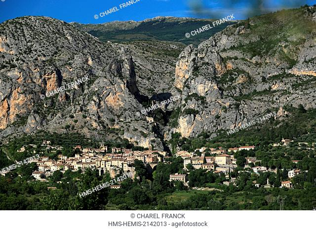 France, Alpes de Haute Provence, The village of Moustiers Ste Marie leaned in the mountain Moustiers Ste Marie is a member of the most beautiful villages of...