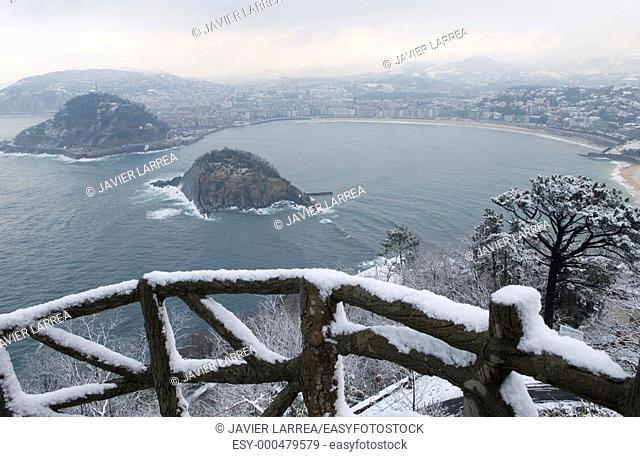 Snow in the coast. La Concha bay. San Sebastian, Donostia. Euskadi. Spain