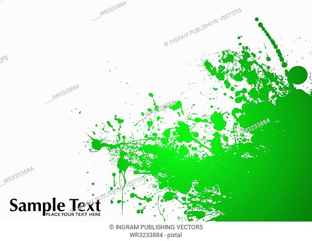 Green and white ink splat background with room to add copy