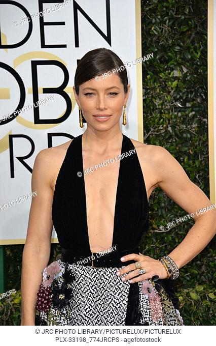 Jessica Biel at the 74th Golden Globe Awards at The Beverly Hilton Hotel, Los Angeles, CA , USA , January 8, 2017