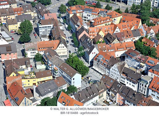 Aerial view from Ulmer Muenster, Ulm Minster, church, historic city centre, Ulm, Baden-Wuerttemberg, Germany, Europe