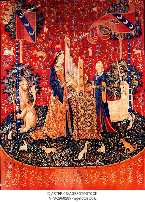 The Lady and the Unicorn, Allegory of Hearing - Paris Musee De Cluny - 15th Century
