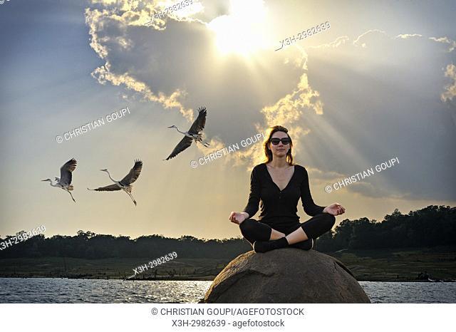 young woman practising yoga posture by the Senanayake Samudraya Lake, Gal Oya National Park, Sri Lanka, Indian subcontinent, South Asia