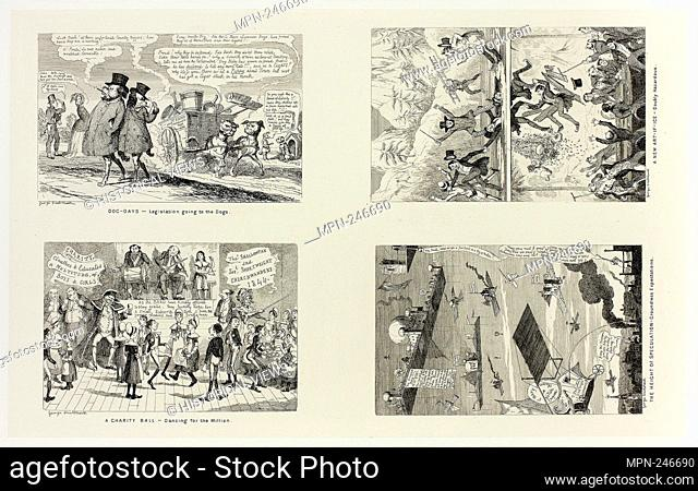 Dog Days - Legislation Going to the Dogs from George Cruikshank's Steel Etchings to The Comic Almanacks: 1835-1853 (top left) - 1844, printed c