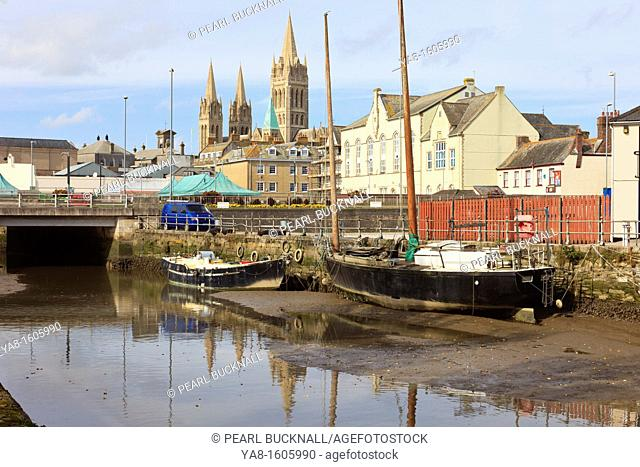Truro, Cornwall, England, UK, Great Britain, Europe  View across tidal River Truro towards the city and three spires of the Cathedral