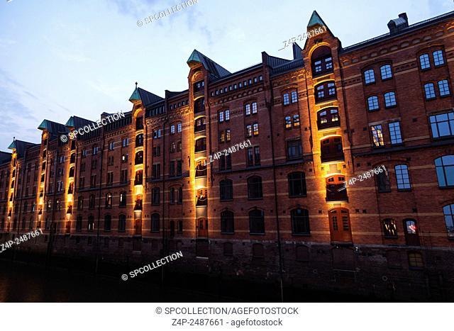 Frontage of buildings in Speicherstadt Hamburg